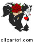 Vector of a Skunk with a Red Heart on His Chest, Smiling and Holding a Bouquet of Red Roses Behind His Back by LaffToon