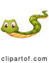 Vector of a Slithering Cartoon Green Snake with Red Eyes by Graphics RF