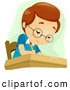Vector of a Smart Cartoon School Boy Writing in Class at His Desk by BNP Design Studio