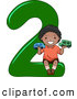 Vector of a Smiling Cartoon Black School Boy Holding 2 Cars on the Number Two by BNP Design Studio