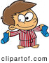Vector of a Smiling Cartoon Boy Holding a Matching Pair of Socks by Ron Leishman