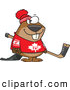 Vector of a Smiling Cartoon Canadian Hockey Beaver by Ron Leishman