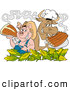 Vector of a Smiling Cartoon Chef Pig and Cow with Corn, Steak and BBQ Ribs by LaffToon