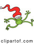 Vector of a Smiling Cartoon Green Frog Running with a Santa Hat over His Head by Zooco
