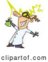 Vector of a Smiling Cartoon Mad Scientist Holding a Beaker by Ron Leishman