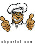 Vector of a Smiling Cartoon Male Chef Mascot Hand Gesturing with Two Thumbs up by Chromaco