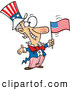 Vector of a Smiling Cartoon Patriotic Uncle Sam Waving an American Flag While Welcoming People by Ron Leishman