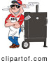 Vector of a Smiling Cartoon Pig Standing Against a BBQ Meat Smoker by LaffToon