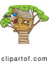 Vector of a Smiling Cartoon Pirate Boy Looking Through a Spotting Scope in His Tree House by Toonaday