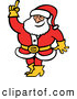 Vector of a Smiling Cartoon Santa Raising a Finger While Testing the Air Temp and Wind Direction by Zooco