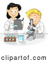 Vector of a Smiling Cartoon School Boy and Female Teacher Viewing Microscope Samples by BNP Design Studio
