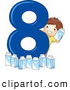 Vector of a Smiling Cartoon School Boy with 8 Milk Cartons Beside the Number Eight by BNP Design Studio