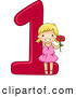 Vector of a Smiling Cartoon School Girl Holding 1 Flower Beside the Number One by BNP Design Studio