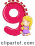 Vector of a Smiling Cartoon School Girl Putting 9 Bows on the Number Nine by BNP Design Studio