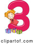 Vector of a Smiling Cartoon School Girl with 3 Presents Beside the Number Three by BNP Design Studio