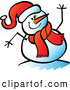 Vector of a Smiling Cartoon Snowman Waving Hello While Winking by Zooco