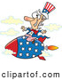 Vector of a Smiling Cartoon Uncle Sam Riding a Rocket by Ron Leishman