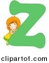 Vector of a Smiling Child Beside Alphabet Letter Z by BNP Design Studio