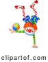 Vector of a Smiling Clown Balanced on One Hand While Doing Tricks with a Ball on the Other by Pushkin