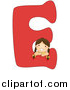 Vector of a Smiling Girl Beside Alphabet Letter E by BNP Design Studio