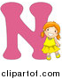 Vector of a Smiling Young Girl Beside Alphabet Letter N by BNP Design Studio