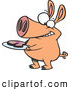 Vector of a Smirking Cartoon Pig Holding a Slice of Ham on a Plate by Toonaday