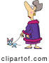 Vector of a Snobby Cartoon Lady Walking Her Spoiled Dog by Ron Leishman