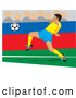 Vector of a Soccer Player Man Kicking a Ball During a Game by David Rey