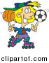 Vector of a Sporty Girl Roller Blading with a Basketball and Soccer Ball by Toonaday