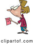 Vector of a Stressed Cartoon Female Office Employee Holding a 'Pink Slip' by Toonaday