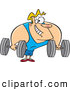 Vector of a Strong Cartoon Body Builder Lifting Heavy Dumbbells by Toonaday