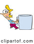 Vector of a Struggling Cartoon Woman Pulling an Oversized Coffee Mug by Ron Leishman