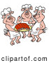 Vector of a Three Happy Cartoon Chef Pigs Serving Platter Full of Fresh BBQ Pork Ribs by LaffToon