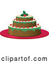 Vector of a Three Layered Cake with Berries and a Holly Garnish by Melisende Vector