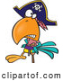 Vector of a Tough Cartoon Pirate Parrot with a Peg Leg by Toonaday