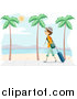 Vector of a Traveling Boy Walking on a Beach with Palm Trees by BNP Design Studio