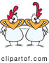 Vector of a Two Cartoon White Chickens Posing Together with Smiles by Ron Leishman