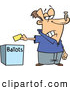 Vector of a Unhappy Cartoon Voter Putting His Ballot in a Box - Voting Stinks Concept by Toonaday