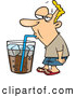 Vector of a Unhealthy Cartoon Man Drinking Soda from an Oversized Cup by Toonaday