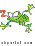 Vector of a Wacky Green Cartoon Frog Jumping Forward with Tongue out by Toonaday