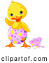Vector of a Waving Cartoon Chick Hatching from a Pink Easter Egg with Colorful Dots by Pushkin