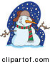 Vector of a Welcoming Cartoon Snowman by Ron Leishman
