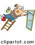 Vector of a White Male Window Cleaner Leaning Far over a Ladder by Toonaday
