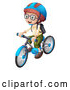 Vector of a White School Kid Wearing a Helmet and Riding a Bicycle by Graphics RF