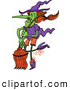 Vector of a Wicked Cartoon Witch Dancing with Her Broom by Zooco