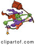 Vector of a Wicked Cartoon Witch Jumping with a Wand and Broom Stick by Zooco