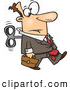 Vector of a Wind up Cartoon Businessman on Walking Forward While on Auto Pilot by Ron Leishman