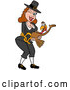 Vector of a Winking Cartoon Pilgrim Girl Holding a Happy Turkey Bird by LaffToon