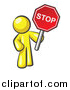 Vector of a Yellow Man Holding a Red Stop Sign by Leo Blanchette