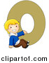 Vector of a Young Boy Beside Alphabet Letter O by BNP Design Studio
